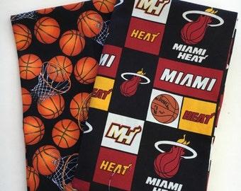 miami basketball fabric, reversible custom pet bandana, sizes XL-XS, pet scarf, dog bandana, pet clothing, pet attire, basketball bandana