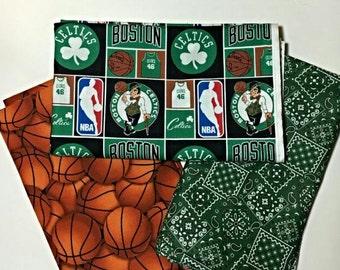 Boston basketball fabric, reversible custom pet bandana, sizes XL-XS, pet scarf, dog scarf, no-tie, dog bandana, pet clothing