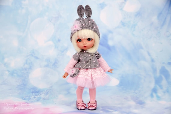 Pink Dress /& Rabbit Scarf /& Hat /& Bag for 1//6 AS YOSD LATI BJD Suit//Clothes