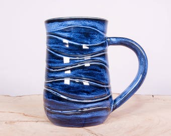 Blue Wave Handmade Coffee Pottery Mug, Large Handmade mug, White stoneware mug, Wheel thrown pottery mug