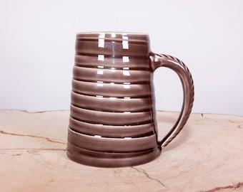 Spiral Pottery Coffee Mug, Textured Handmade Pottery Mug