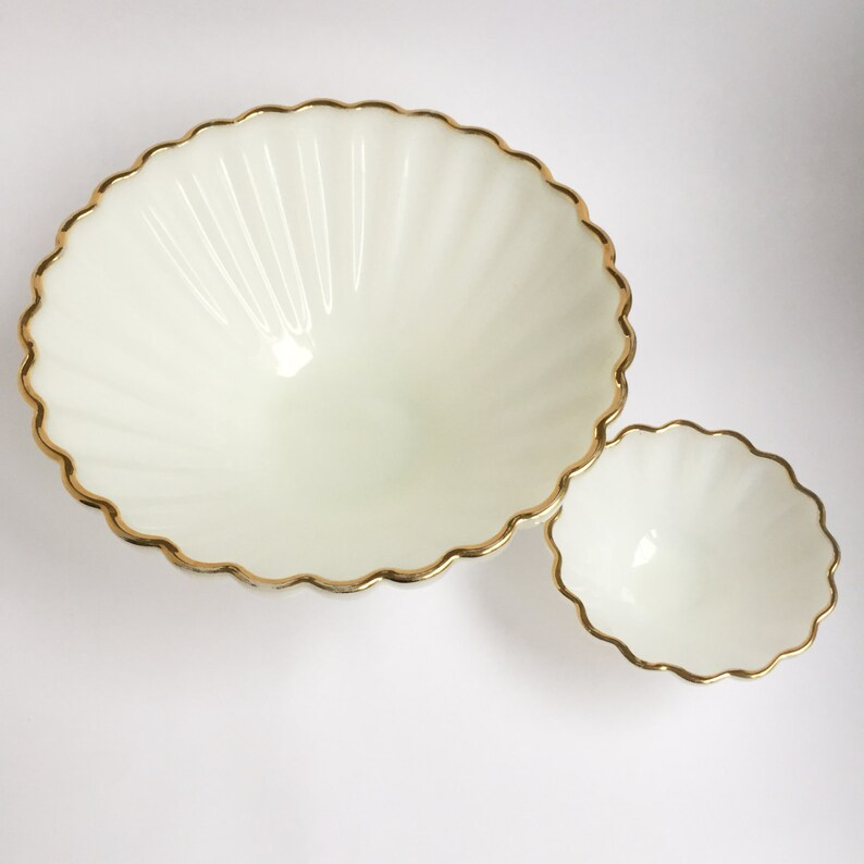 gold rimmed chip and dip set White glass