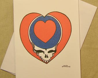 Grateful dead card etsy grateful dead all occasion greeting card steal your heart regular size card mini version a lunar eclipse cartoon all occasion card m4hsunfo