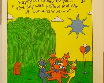 Grateful Dead Birthday Card. Teddys Birthday Dance. Regular size, mini-version, & print.  A Lunar Eclipse cartoon birthday card.