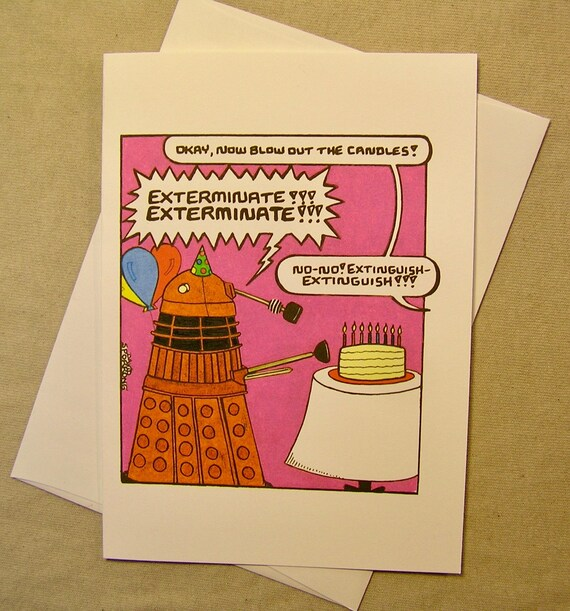 Doctor Who Birthday Card A Dalek Birthday Regular Size Card Etsy