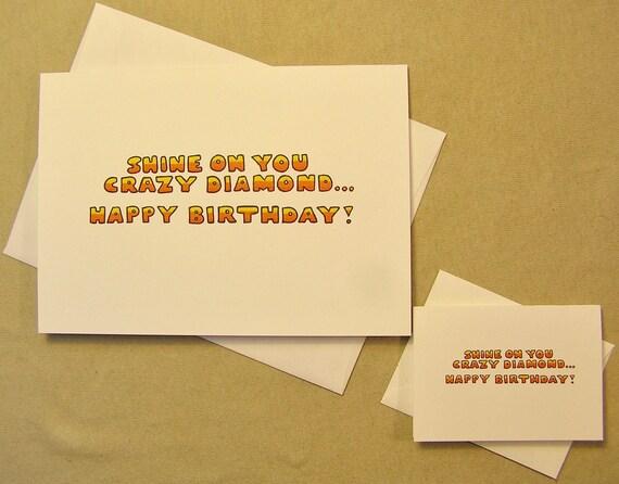 Pink Floyd Birthday Card Shine On You Crazy Etsy