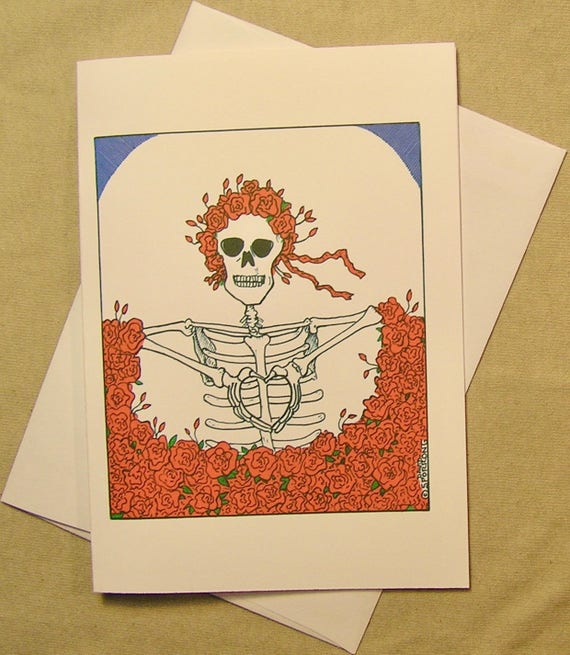 Grateful dead all occasion greeting card skeleton shows etsy m4hsunfo