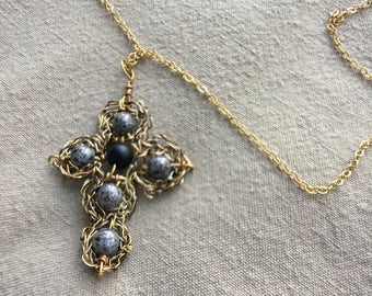 Hand Crocheted Wire Cross Pendant Gold Necklace