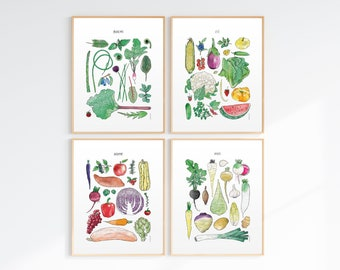 4 Seasons Fruit and Vegetable Posters (11X14 inches) Spring, Summer, Fall, Winter Harvests