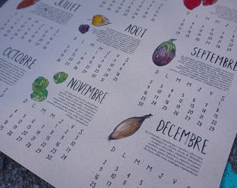 2018 Calendar Fruits and Vegetables of Quebec on KRAFT cardstock