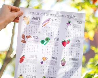 2018 Calendar Fruits and Vegetables of Quebec on WHITE cardstock