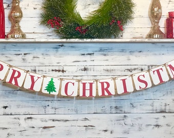 Merry Christmas Banner,Christmas Banner,Merry Christmas,Christmas Decor,Rustic Christmas Decor,Farmhouse Christmas,Christmas Mantle Decor