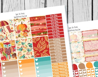 Autumn Planner Sticker Printable / Fall Sticker Printable / Printable Planner Stickers / Weekly Sticker Kit / Fall Planner Stickers