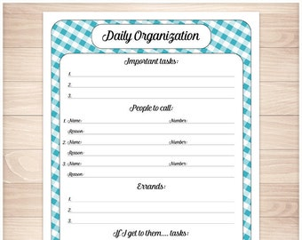 blue printable daily task sheet blue gingham full page etsy