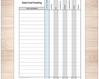printable calories tracking sheet daily calorie counting and etsy