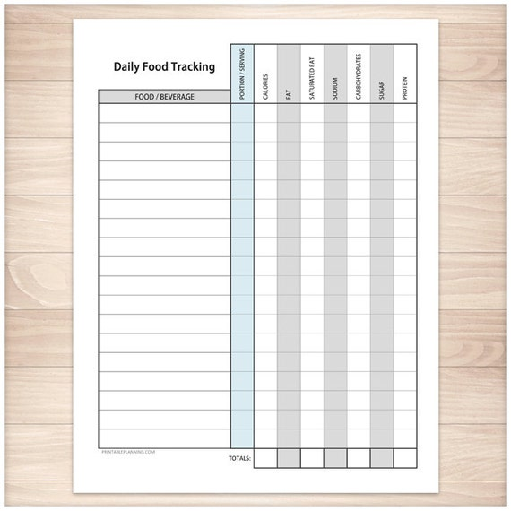 printable food tracking sheet healthy eating daily calorie etsy