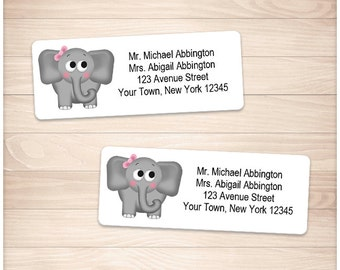 "Printable Girl Elephant Address Labels - Adorable Gray Pink Bow - Personalized 2 5/8"" x 1"" Address Labels - Editable PDF - Instant Download"