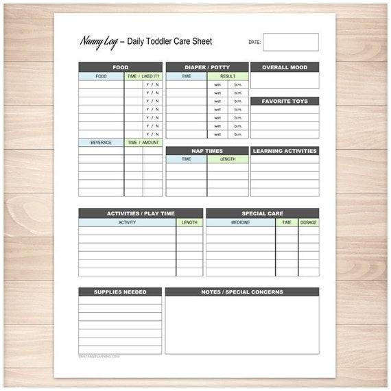 printable nanny log daily toddler care sheet babysitter etsy