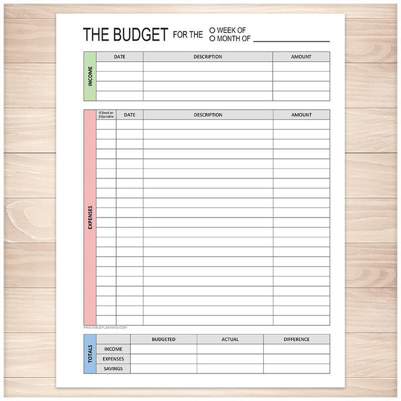 printable budget worksheet weekly or monthly track your