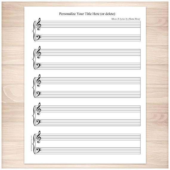 Printable Personalized Piano Sheet Music BLANK And