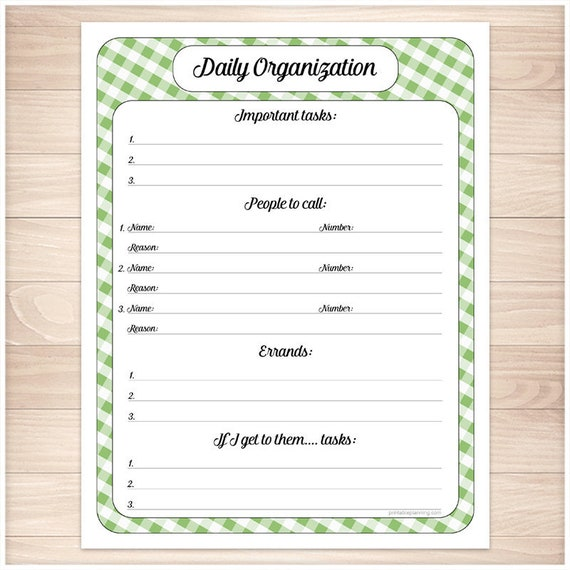 green printable daily task sheet green gingham full page etsy
