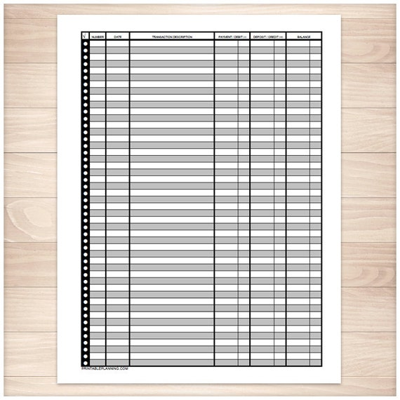 printable financial transaction register full page instant etsy
