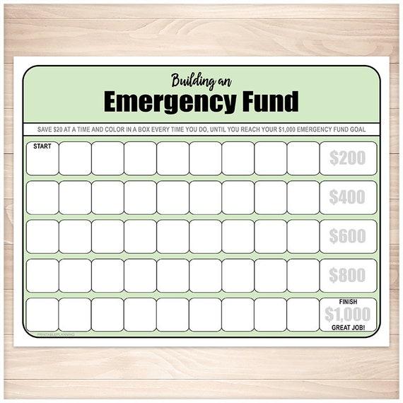 Printable Emergency Fund Worksheet Green Chart for Building   Etsy