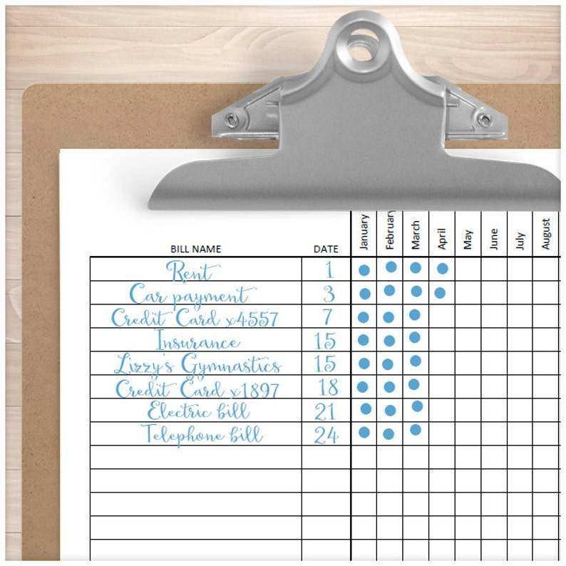 Printable Bill Payment Tracker Log monthly entire year tracking yearly Instant Download Paying Bills Checklist