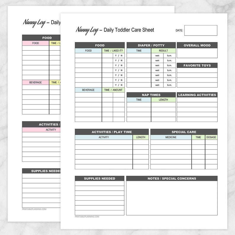 picture about Printable Phone Logs identify Printable Nanny Log Offer - Day-to-day Baby Treatment Sheet - Babysitter Caregiver Boy or Woman Boy or girl Treatment Monitoring Website page - PDF Quick Obtain