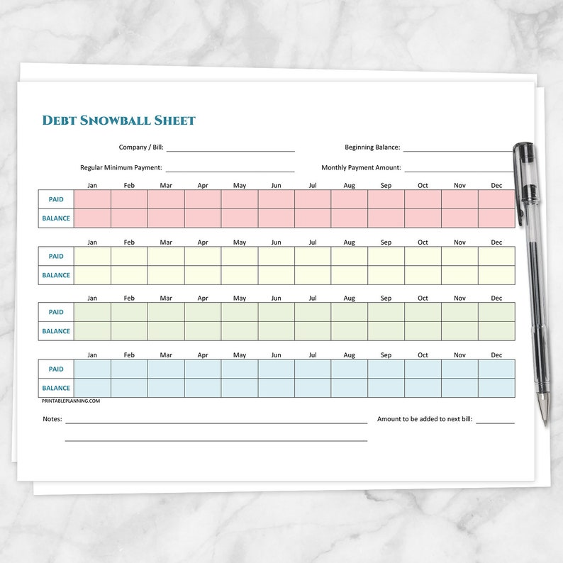 graphic about Free Printable Debt Payoff Worksheet identify Printable Personal debt Snowball Sheet and Financial debt Payoff Program - Printable Package deal