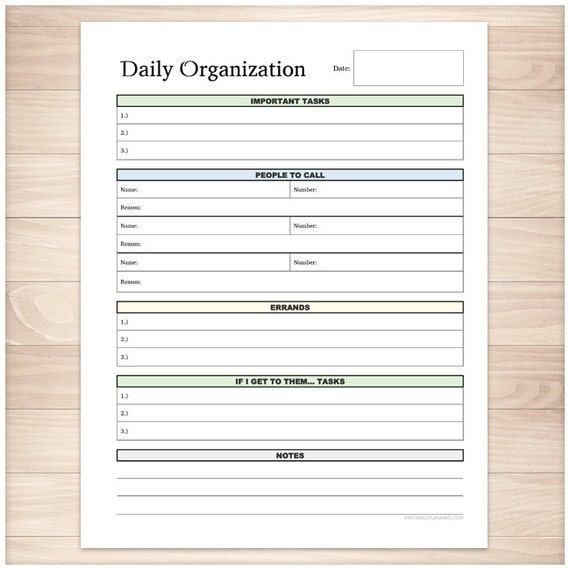 printable daily task sheet full page organizer clean and etsy