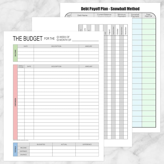 Printable Financial BUNDLE - Budget Worksheet, Bill Payment, and Debt  Payoff Plan - 3 PDF files, Instant Download