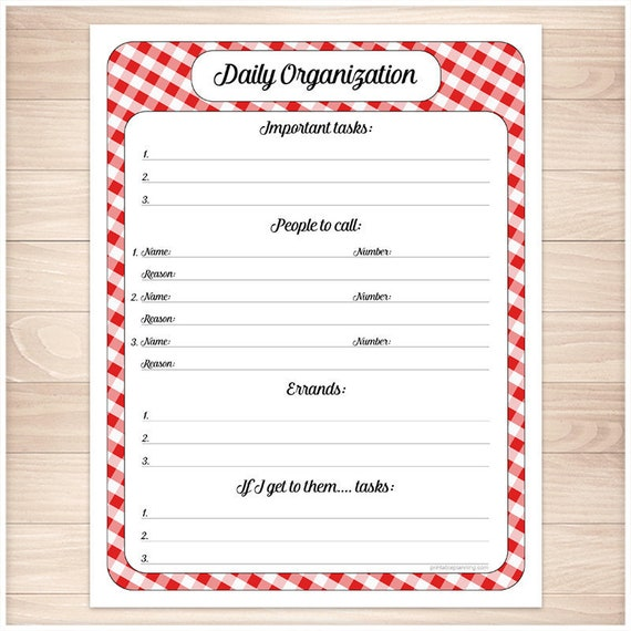 photograph about Daily Sheet named Pink Printable Day by day Activity Sheet - Crimson Gingham, Total website page - Everyday Business enterprise, Everyday Towards-Do Listing, Job Groups - Immediate Obtain
