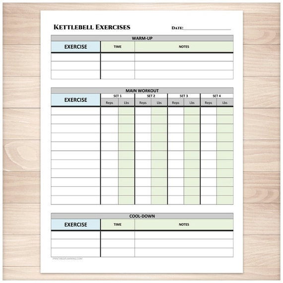 printable kettlebell exercise log daily workout sheet with