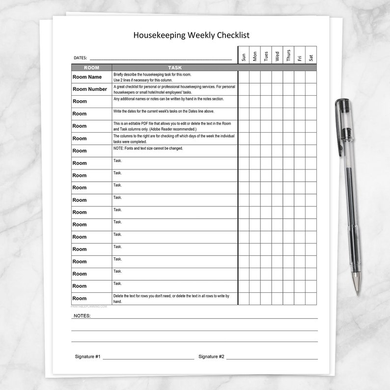 Printable Housekeeping Weekly Checklist, Editable PDF - personal  housekeeper or small hotel motel employee task list - PDF Instant Download
