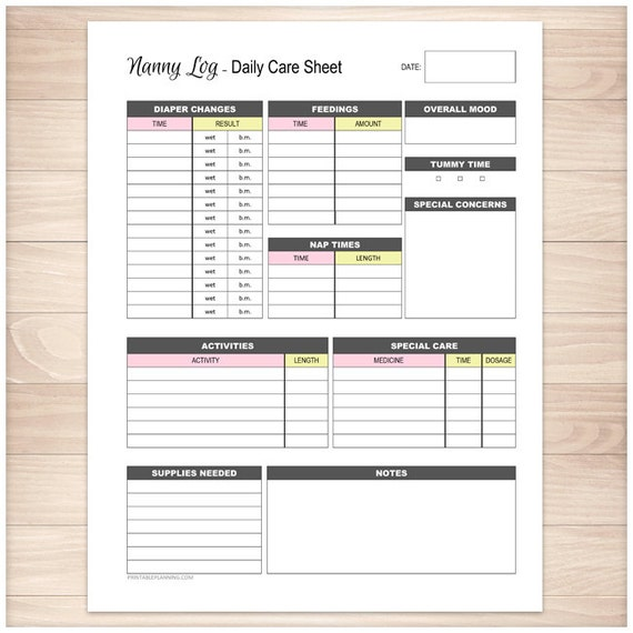 graphic relating to Free Printable Infant Daily Sheets named Printable Nanny Log - Every day Child Treatment Sheet - Babysitter Caregiver Purple Yellow Female Child Treatment Monitoring Web page - PDF Quick Obtain