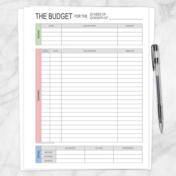 Printable Budget Worksheet Weekly Or Monthly Track Your Etsy