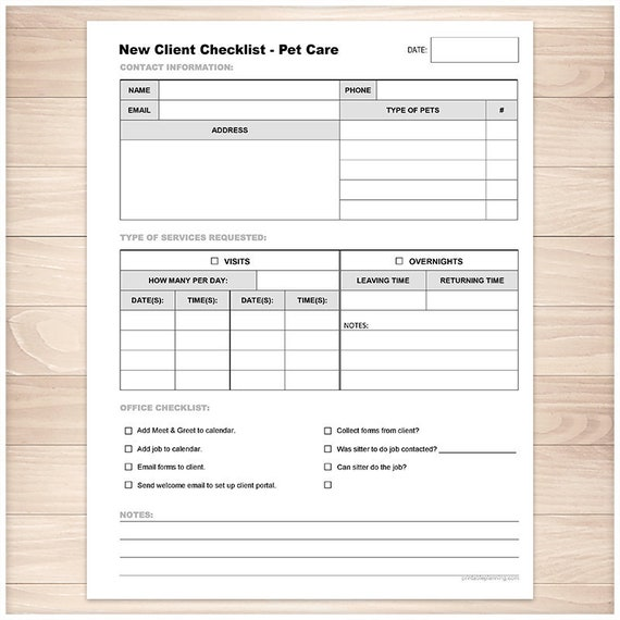Printable Pet Care New Client Checklist Pet Sitting Visits Etsy