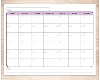 Printable Blank Purple Calendar - Monthly Full Pages PDF - Purple colored days of the week - Instant Download
