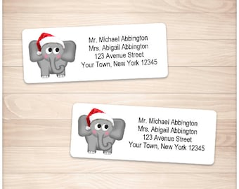 "Printable Elephant Address Labels - Christmas Santa Hat - Personalized Holiday 2 5/8"" x 1"" Address Labels - Editable PDF - Instant Download"