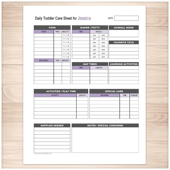 personalized printable nanny log daily toddler care sheet etsy