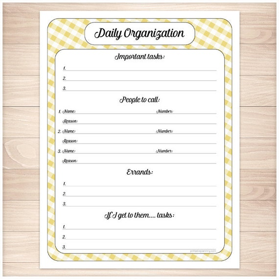 yellow printable daily task sheet yellow gingham full page etsy