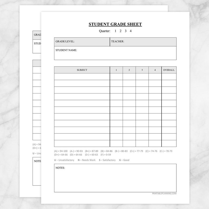 photograph about Printable Quarters called Printable University student Quality Sheet - Quarters or Trimesters - Quality Faculty Essential - Quick Obtain