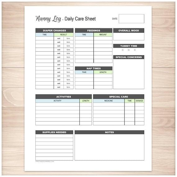 printable nanny log daily infant care sheet babysitter etsy