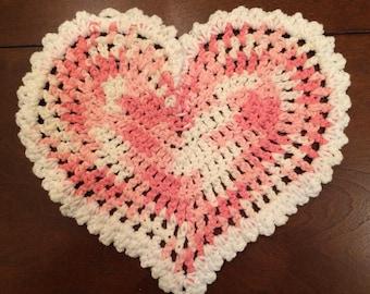 Pink Variegated Valentine dishcloth