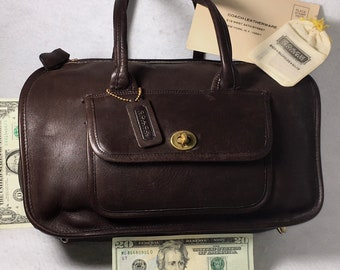 c6395a943 COACH Early *Mocha* Leather Pre-Creed Bonnie Cashin 60s Archive ChUnKy Tote  DOUBLE SIDED Turnlock Speedy Flight Cabin Doctor Bag demi Duffle