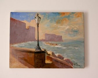 Naples, Castel dell'Ovo - 12x16 inches - Naples seascape - Oil on canvas - Gift Idea - Unique painting