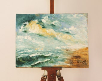 Naples, Rough sea - Impressionist painting - 12x16 inches - italian seascape - oil on canvas - original painting - gift idea