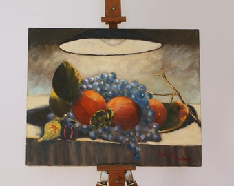 Still-life with lotus, grapes and fig - 16x20 inches original painting - oil on canvas - gift idea