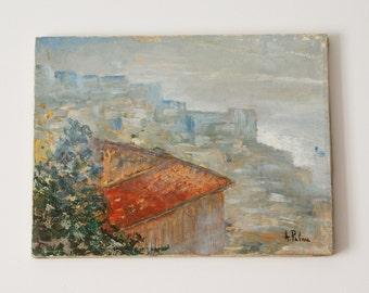 Naples, rare winter landscape - Original oil on canvas - Impressionist paint - 12x16 inches - gift idea - wall decor